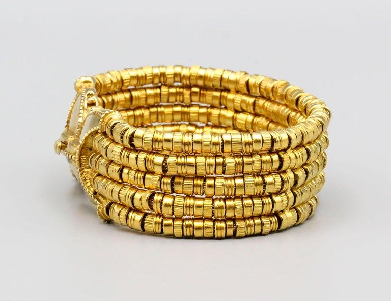Women's or Men's Lalaounis 18 Karat Gold 5 Strand Bracelet For Sale