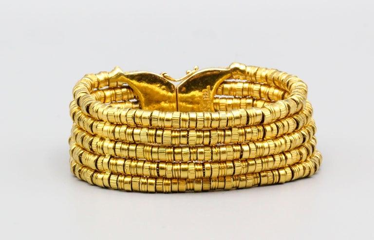 Lalaounis 18 Karat Gold 5 Strand Bracelet For Sale 1