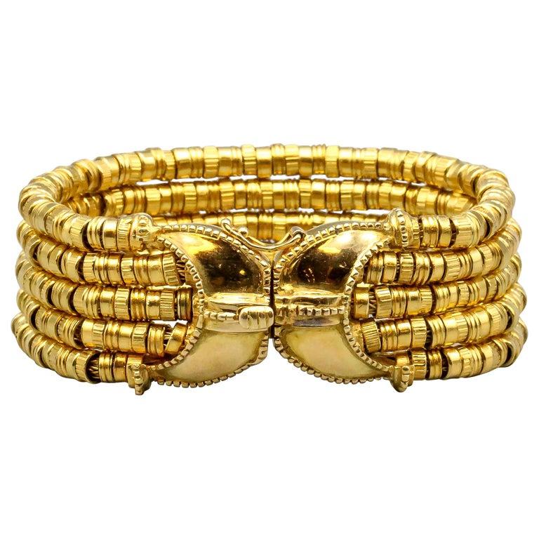 Lalaounis 18 Karat Gold 5 Strand Bracelet For Sale