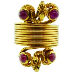Lalaounis 18 Karat Yellow Gold and Cabochon Ruby Double Snake Ring Vintage Rare