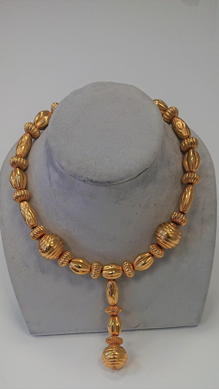 Lalaounis 22 Carat Yellow Gold Minoan Bead Pendant Necklace For Sale 1