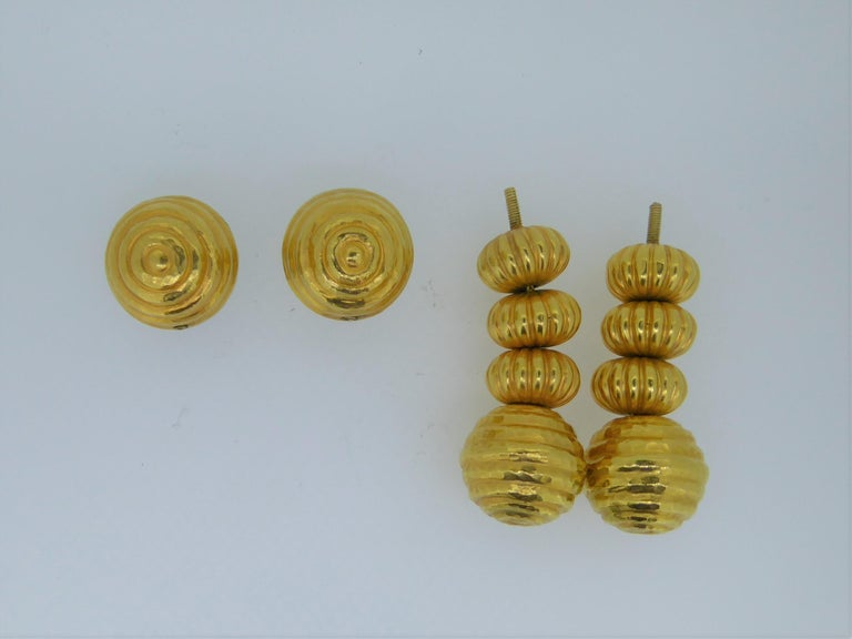 Lalaounis 22 Carat Yellow Gold Minoan Bead Pendent Earrings In Good Condition For Sale In London, GB