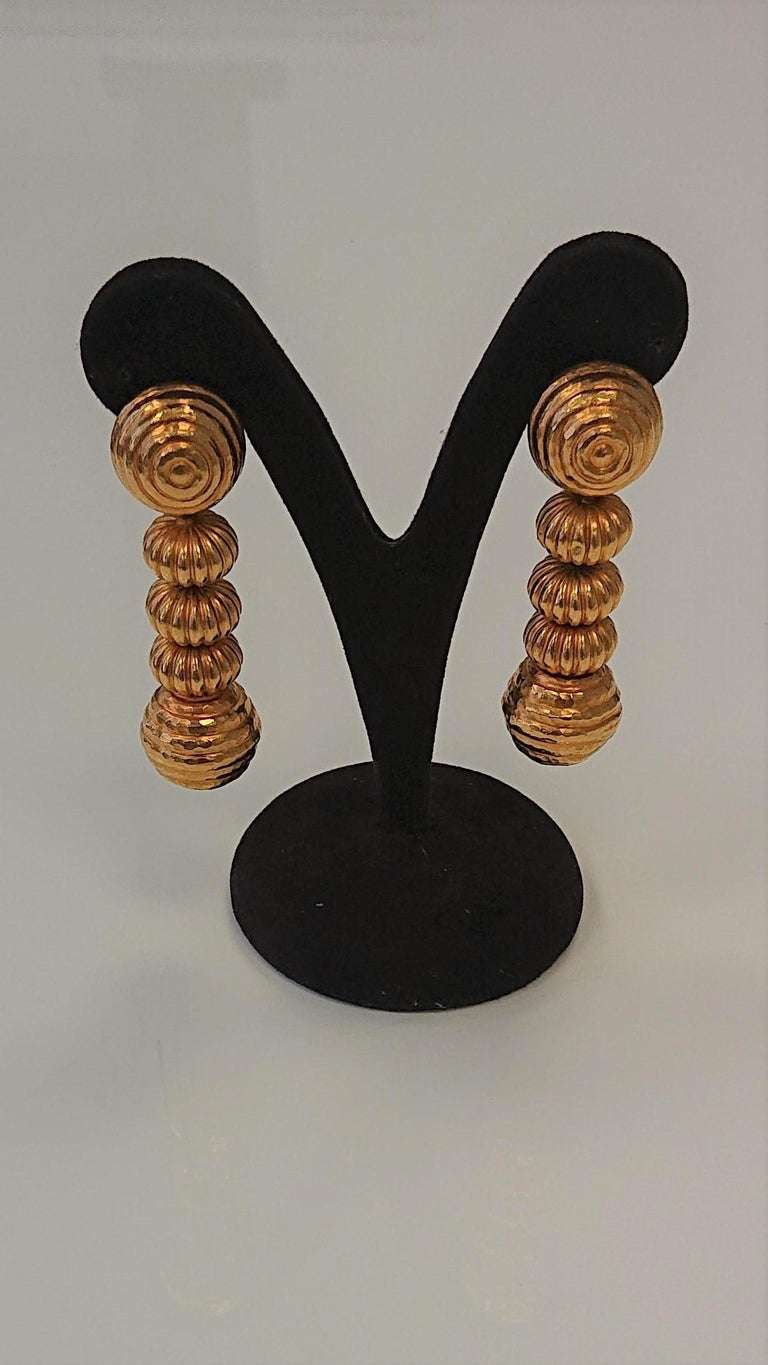 Lalaounis 22 Carat Yellow Gold Minoan Bead Pendent Earrings For Sale 1