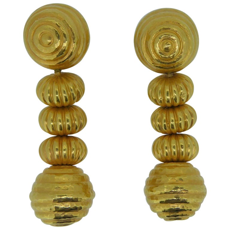 Lalaounis 22 Carat Yellow Gold Minoan Bead Pendent Earrings For Sale