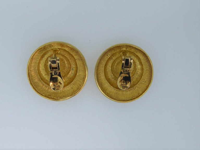 Pair of Lalaounis 22 Carat Yellow Gold Swirl Ear Clip Earrings. The gold swirl earrings with Lalaounis makers marks and stamped
