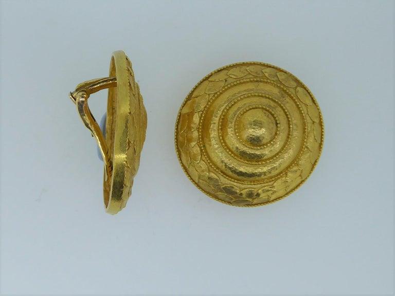 Women's Lalaounis 22 Carat Yellow Gold Swirl Ear Clip Earrings For Sale