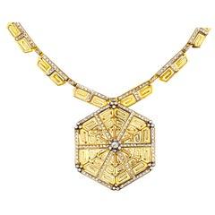 Lalaounis Diamond Greek Key Pendant Necklace