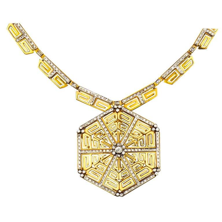 Lalaounis Diamond Greek Key Pendant Necklace For Sale