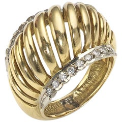 Lalaounis Diamond Set Two-Color Gold Domed Ring