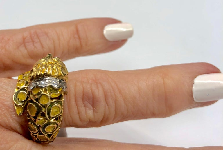 Lalaounis 18K Yellow Gold Enameled Lion Ring For Sale 5