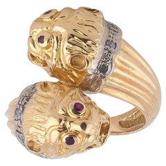 Lalaounis Gold and Diamond Twin Lion Heads Ring