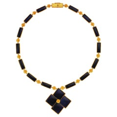 Lalaounis Gold and Sodalite Necklace