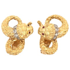 Lalaounis Gold, Diamond and Ruby Chimera Earrings