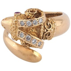 Lalaounis Gold Diamond and Ruby Ram's Head Ring