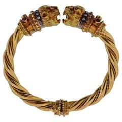 Lalaounis Greece Chimera Ruby Sapphire Diamond Gold Bracelet