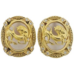 Lalaounis Greece Diamond Frosted Crystal Gold Earrings