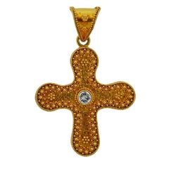 Lalaounis Greece Diamond Gold Cross Pendant