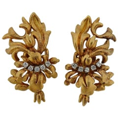 Lalaounis Greece Diamond Gold Earrings