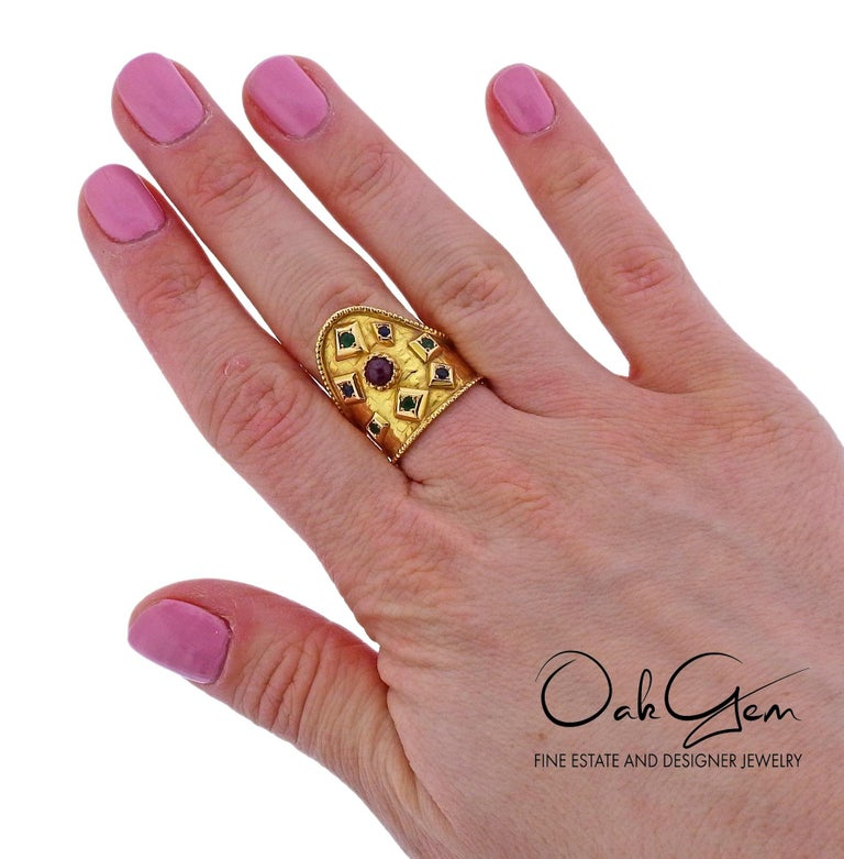 Lalaounis Greece Emerald Sapphire Ruby Gold Ring For Sale 2