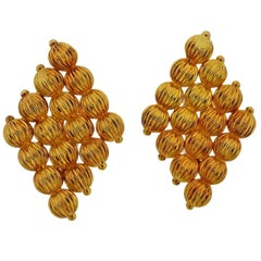 Lalaounis Greece Gold Bead Earrings