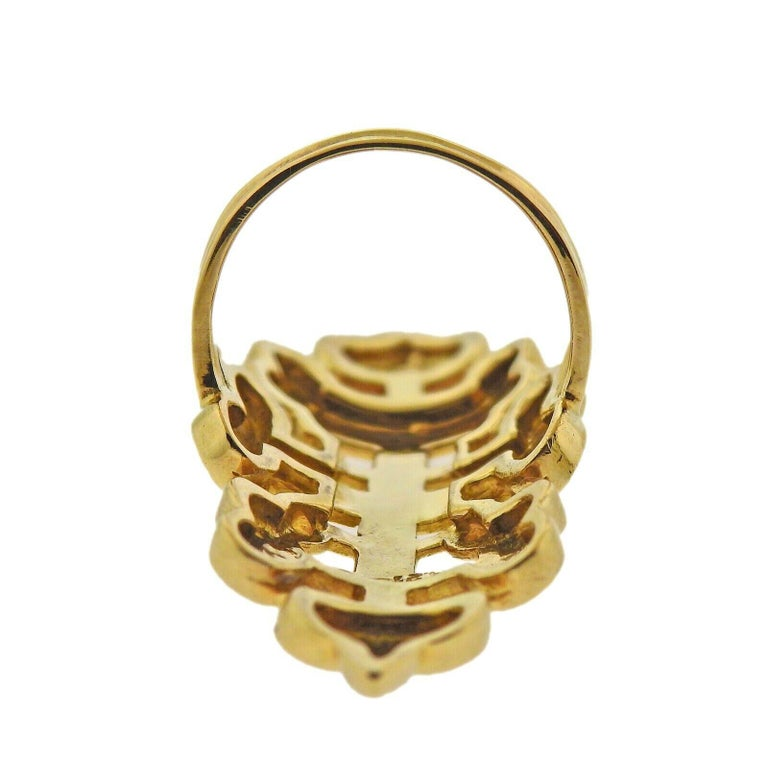 Lalaounis Greece Gold Byzantine Ring In Excellent Condition For Sale In Boca Raton, FL