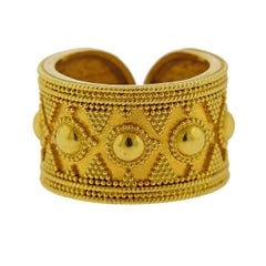 Lalaounis Greece Gold Cuff Band Ring