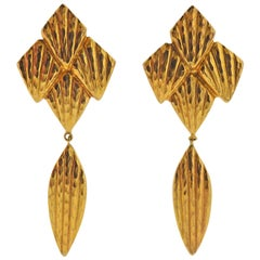 Lalaounis Greece Gold Drop Earrings
