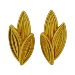 Lalaounis Greece Gold Leaf Earrings