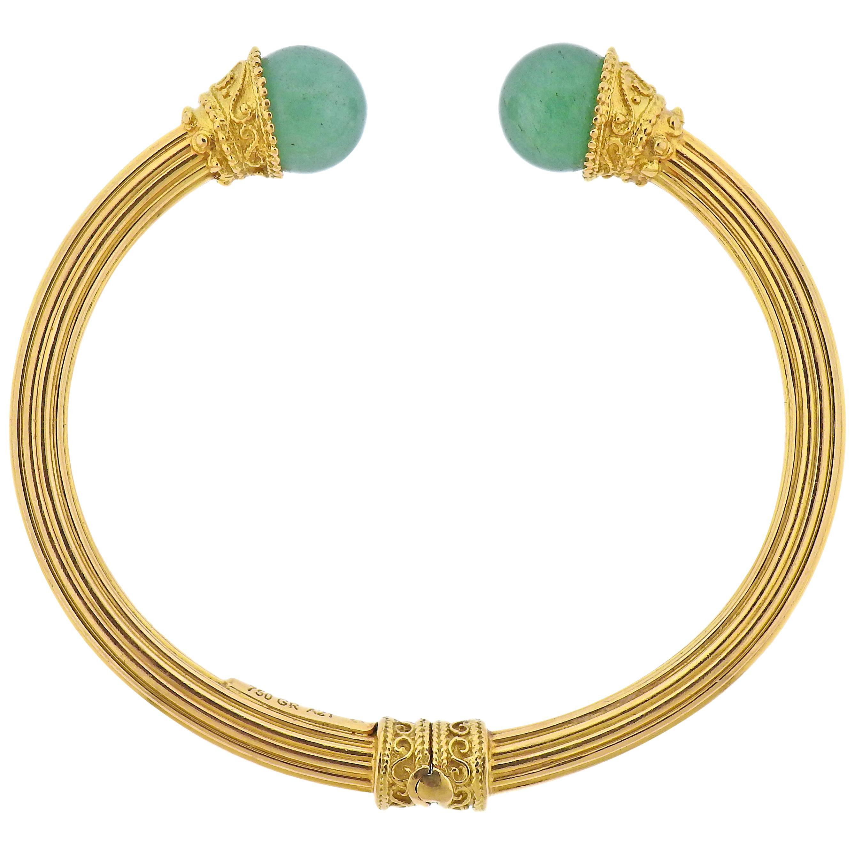 Lalaounis Greece Gold Sodalite Cuff Bracelet
