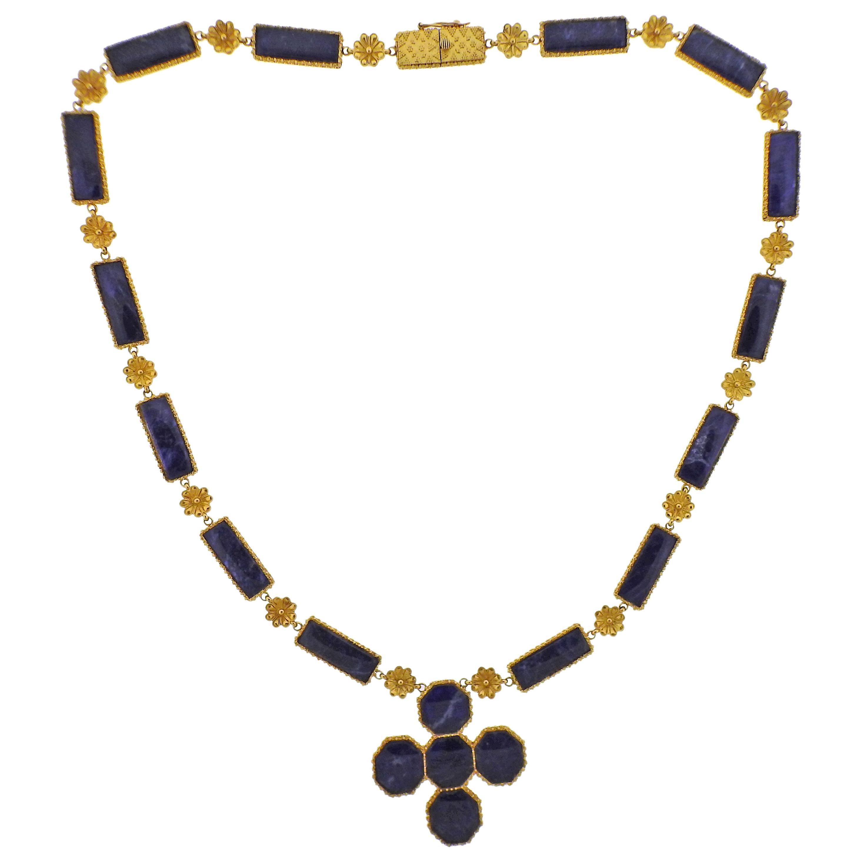 Lalaounis Greece Gold Sodalite Pendant Necklace