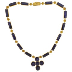 Lalaounis Greece Gold Sodalite Pendant Necklace