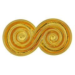 Lalaounis Greece Gold Swirl Brooch Pin