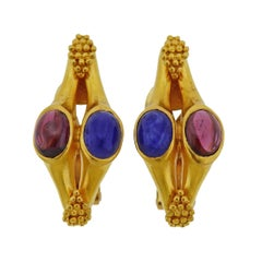Lalaounis Greece Gold Tourmaline Sapphire Earrings