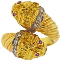 Lalaounis Greece Ruby Diamond Gold Chimera Bypass Ring