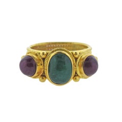 Lalaounis Greece Ruby Emerald Gold Ring