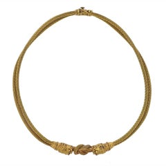 Lalaounis Greece Ruby Gold Hercules Knot Chimera Necklace