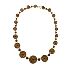 Lalaounis Greece Ruby Gold Necklace