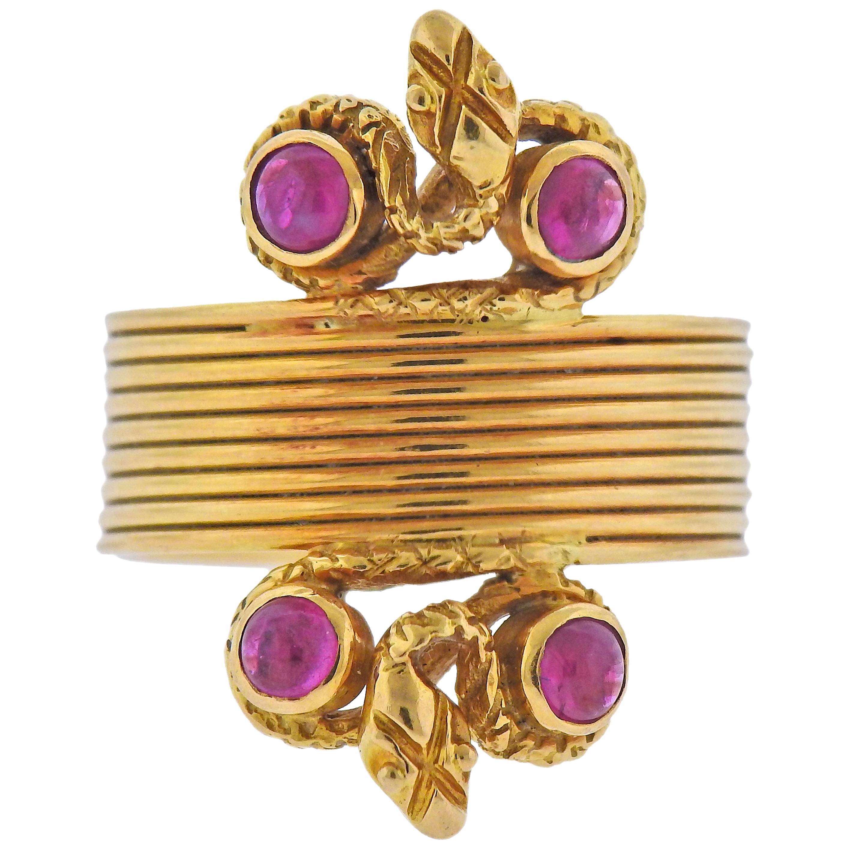 Lalaounis Greece Ruby Gold Snake Ring