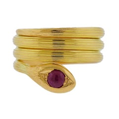 Lalaounis Greece Ruby Gold Snake Wrap Ring