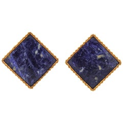 Lalaounis Greece Sodalite Gold Earrings