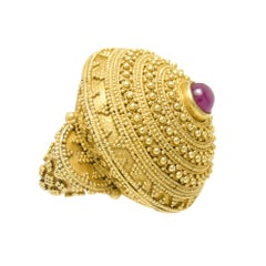 Lalaounis Large Yellow Gold and Ruby Dome Ring