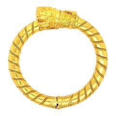 Lalaounis Ornate Double Dragon Gold Bangle Bracelet Estate Fine Jewelry