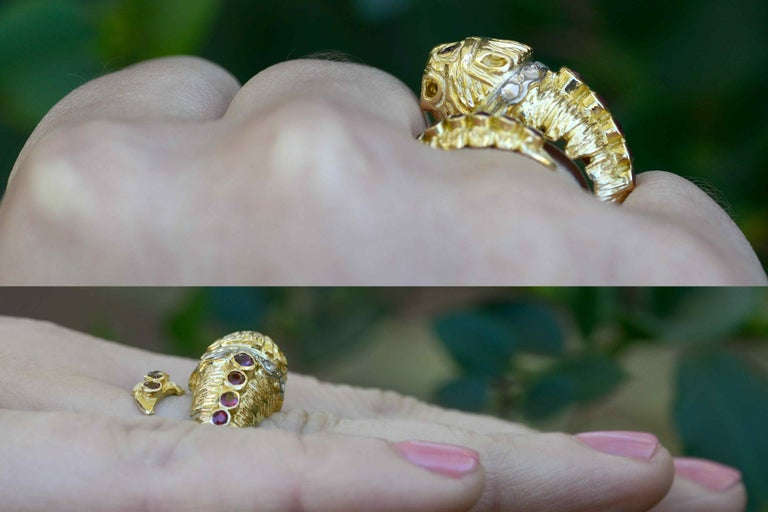 Etruscan Revival Lalaounis Ruby Diamond Snake Ring Chimera Lion