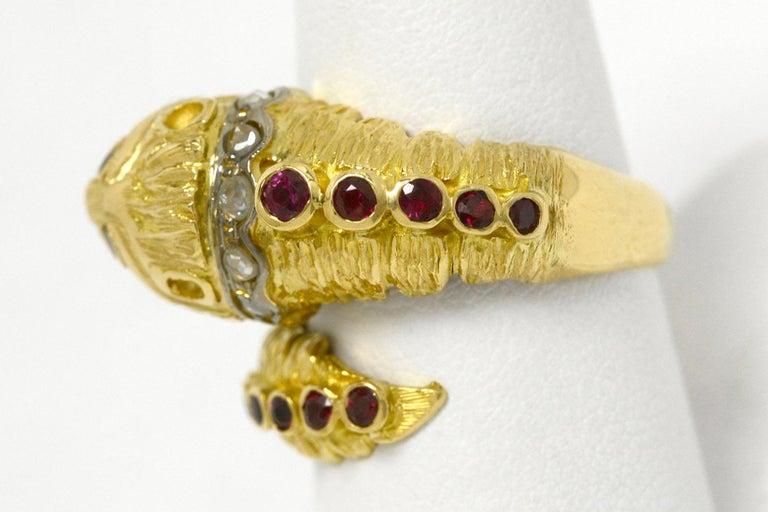 Rose Cut Lalaounis Ruby Diamond Snake Ring Chimera Lion