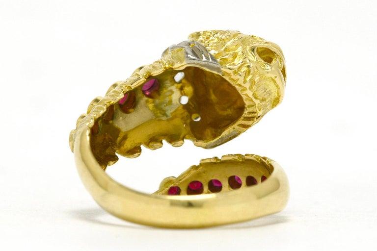 Women's or Men's Lalaounis Ruby Diamond Snake Ring Chimera Lion