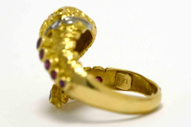 Lalaounis Ruby Diamond Snake Ring Chimera Lion 1