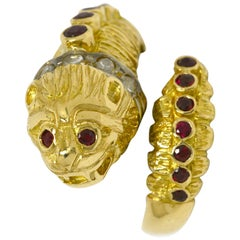 Lalaounis Ruby Diamond Snake Ring Chimera Lion