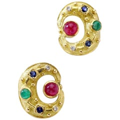Lalaounis Ruby Emerald Sapphire Yellow Gold Earrings