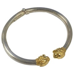 LaLaounis Silver and Gold Chimera Head Bangle Bracelet