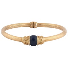 Lalaounis Sodalite and 18 Karat Gold Bangle Bracelet